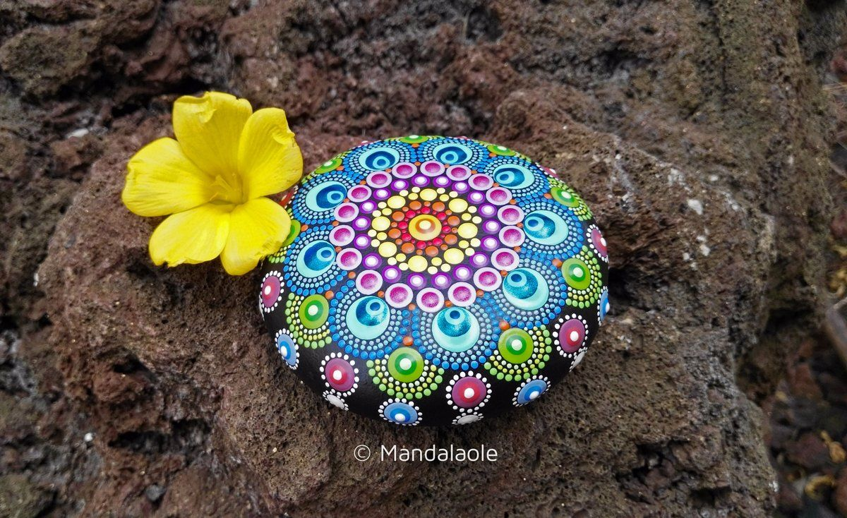 The painting is applied on a very special beach stone, using bright colors of acrylic paint with different tips sizes, patience and creativity, and...