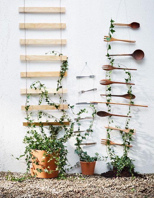 Flere espalier af trådnet hænger på en væg og udstiller planter i ...