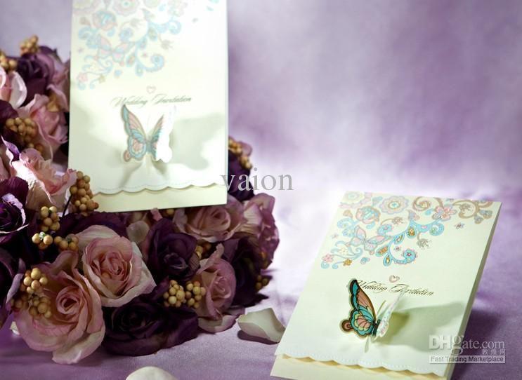 Wholesale Wedding Invitations - Buy Beautiful Butterfly Style Wedding Invitations Wedding Cards Personalized Invitations Fast Shipping, $1.51   DHgate