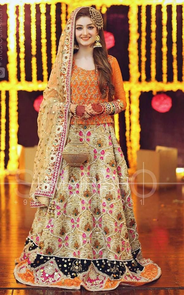 Mehndi Wedding Dresses 2016 : Latest bridal mehndi dresses collections