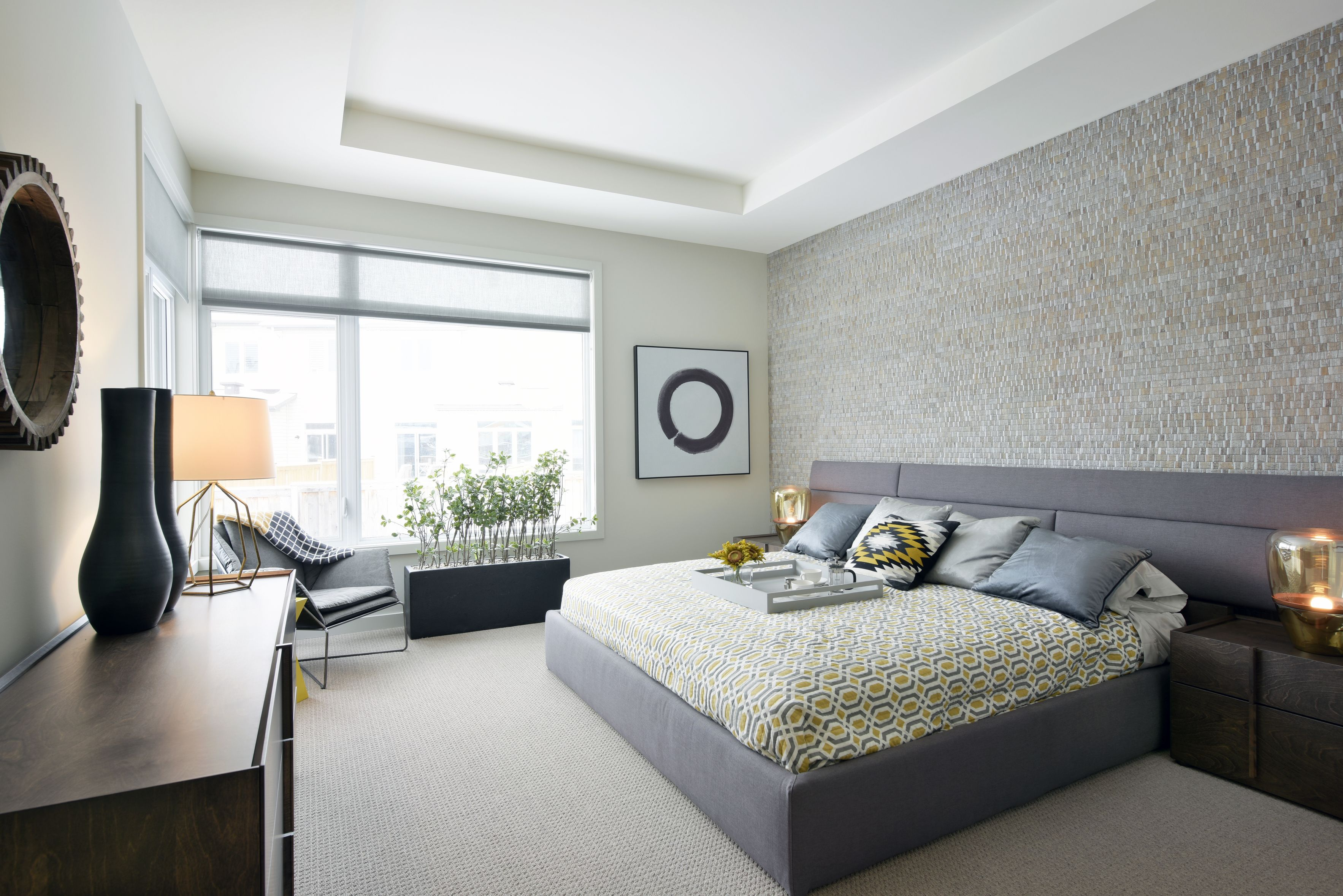 The Master Bedroom Features A Textured Wallpaper Accent Wall And Modular Mid Century Bed Frame Bedroom Wall Accent Wall Bedroom Bedding Master Bedroom
