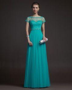 Vestidos de noche color verde turquesa