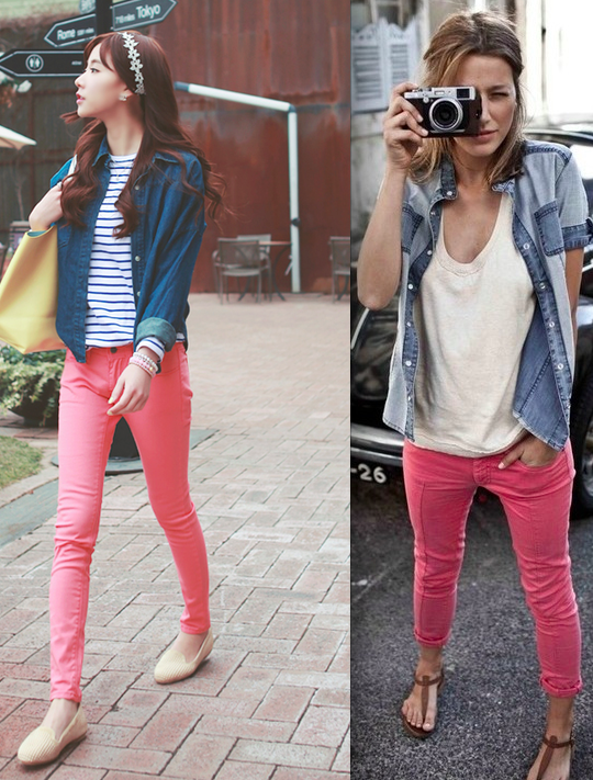 6774add954e salmon pants w  denim vest denim shirt striped shirt white shirt gladiator  sandals nude flats