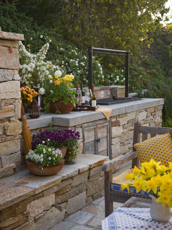 Barbecue Island Rustic Outdoor Grill Mediterreanean French Provincial Natural Stone Design By Kate Wi Outdoor Kitchen Outdoor Stone Outdoor Kitchen Patio