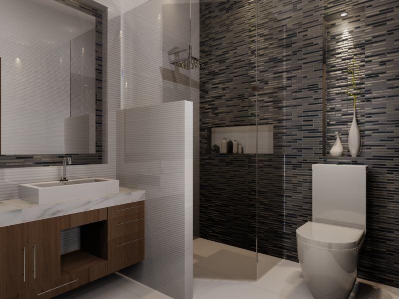 Muro glass blanco en regadera piso city nieve y muro - Porcelanosa banos pequenos ...