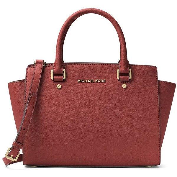 3c9d28cc47e2 Michael Michael Kors Women s Selma Leather Medium Zip Satchel ( 224) ❤ liked  on Polyvore
