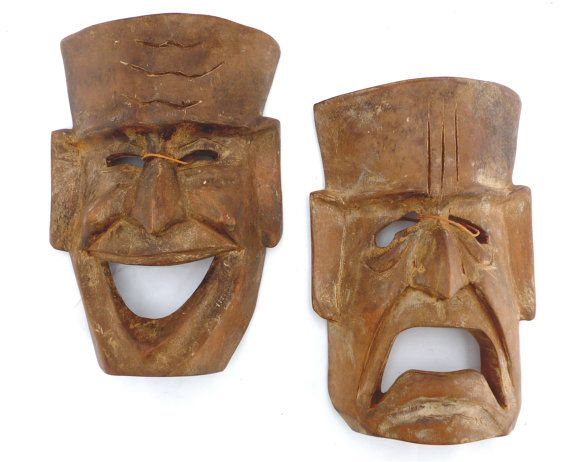 Vintage Comedy Tragedy Wooden Masks Theater And Drama Masks