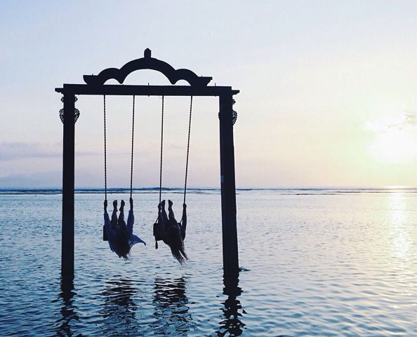 The famous water swing, located at Gili Island, Bali.