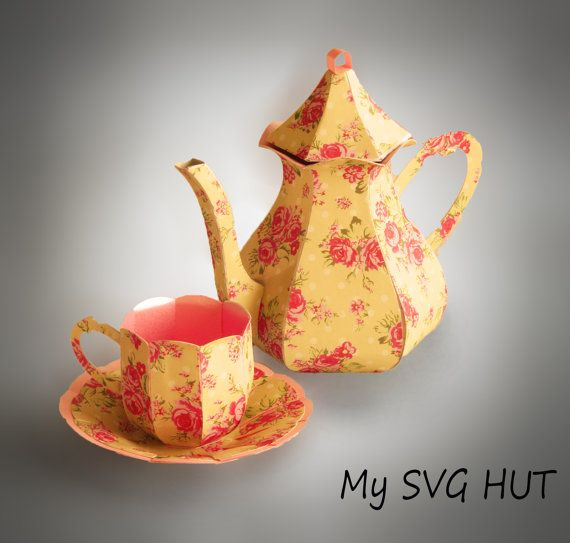 3d Svg Teapot With Cup And Saucer Digital Download Tea Pots
