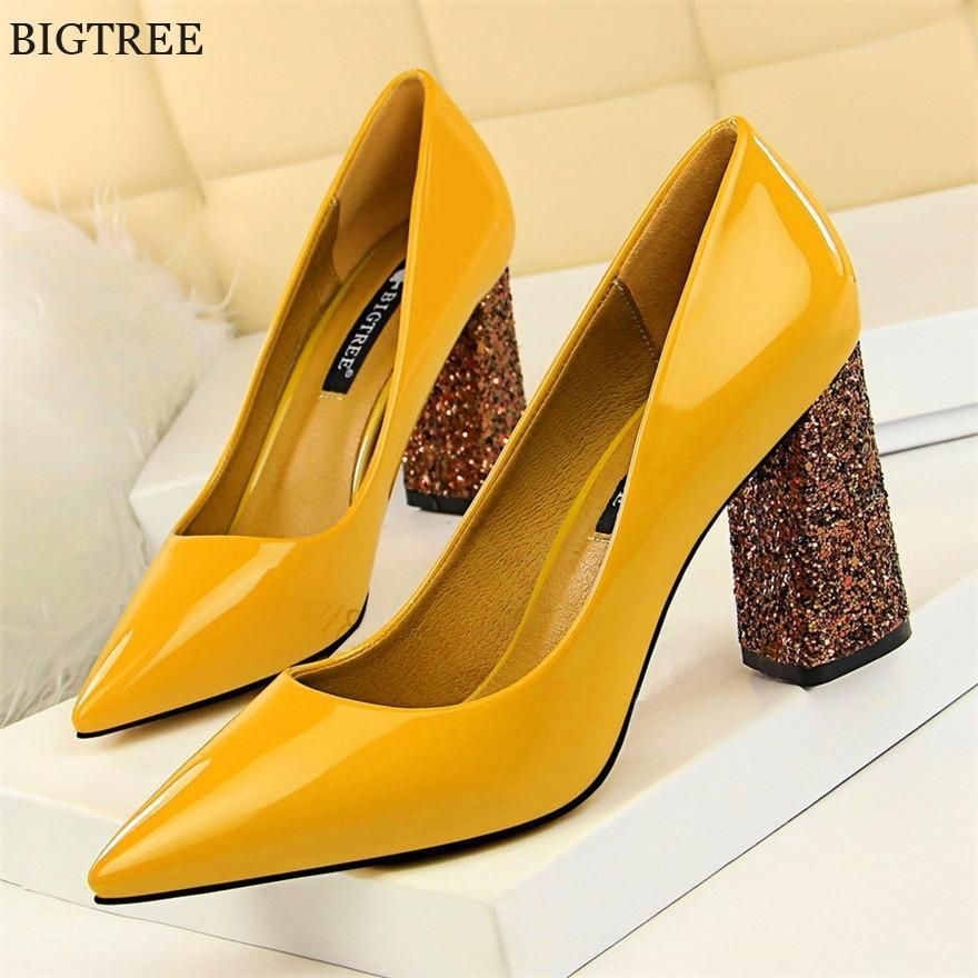 Yellow High Heels Exclusive Patent Brand Fashion Shallow