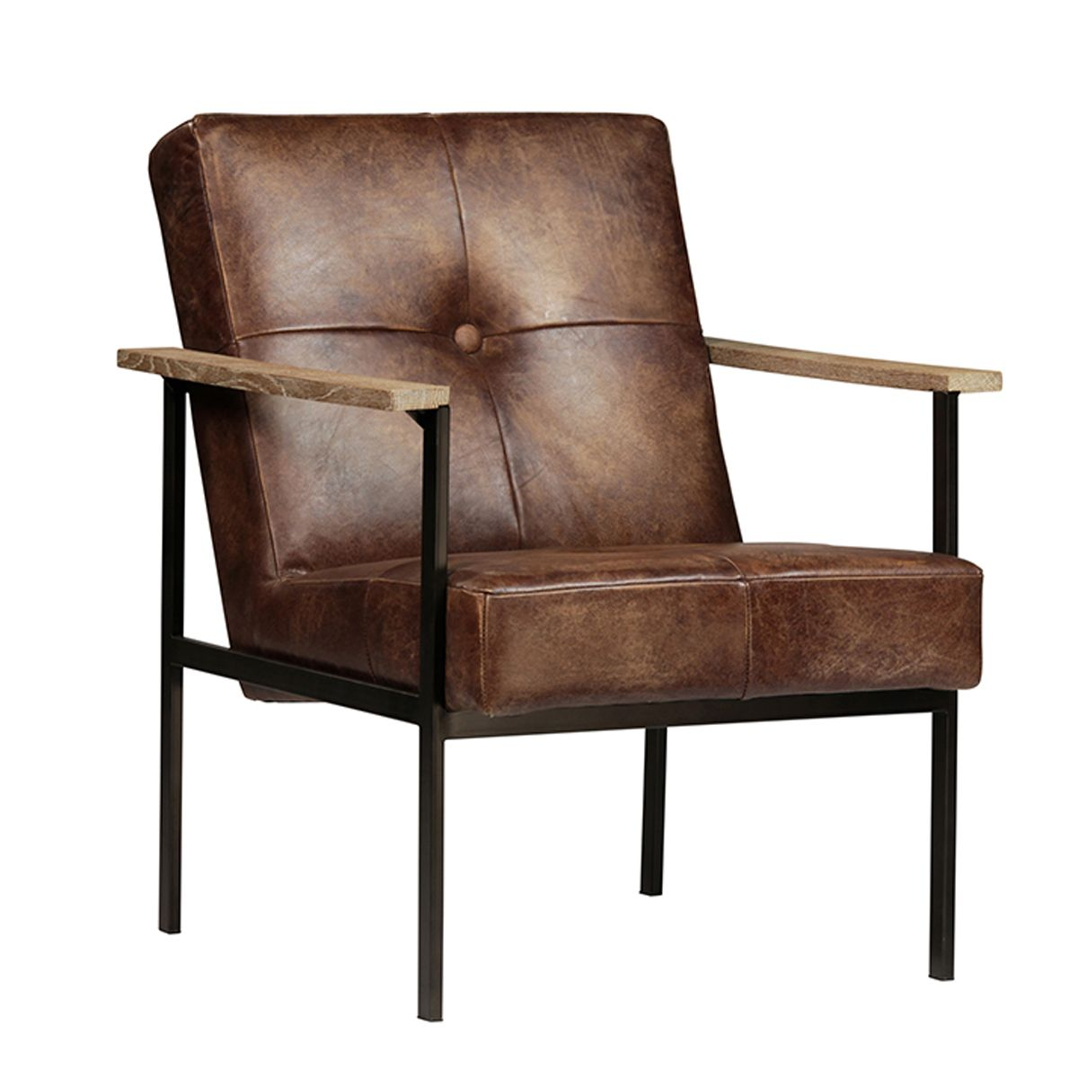 Groovy Aged Leather Club Chair With White Wash Wood Arms And Black Interior Design Ideas Gentotryabchikinfo