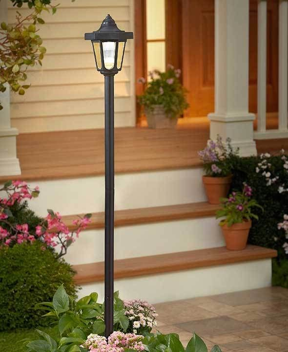 Solar lamp post garden yard lawn patio walkway path light outdoor