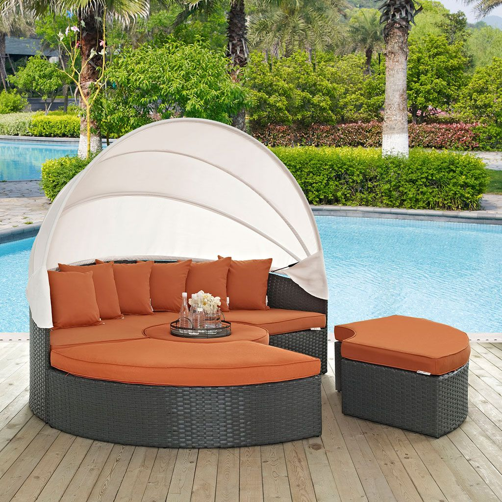 Modway sojourn 4 piece outdoor daybed set with canopy in a gray canvas tuscan finish eei 1986 chc tus set outfit your patio with an imaginative outdoor