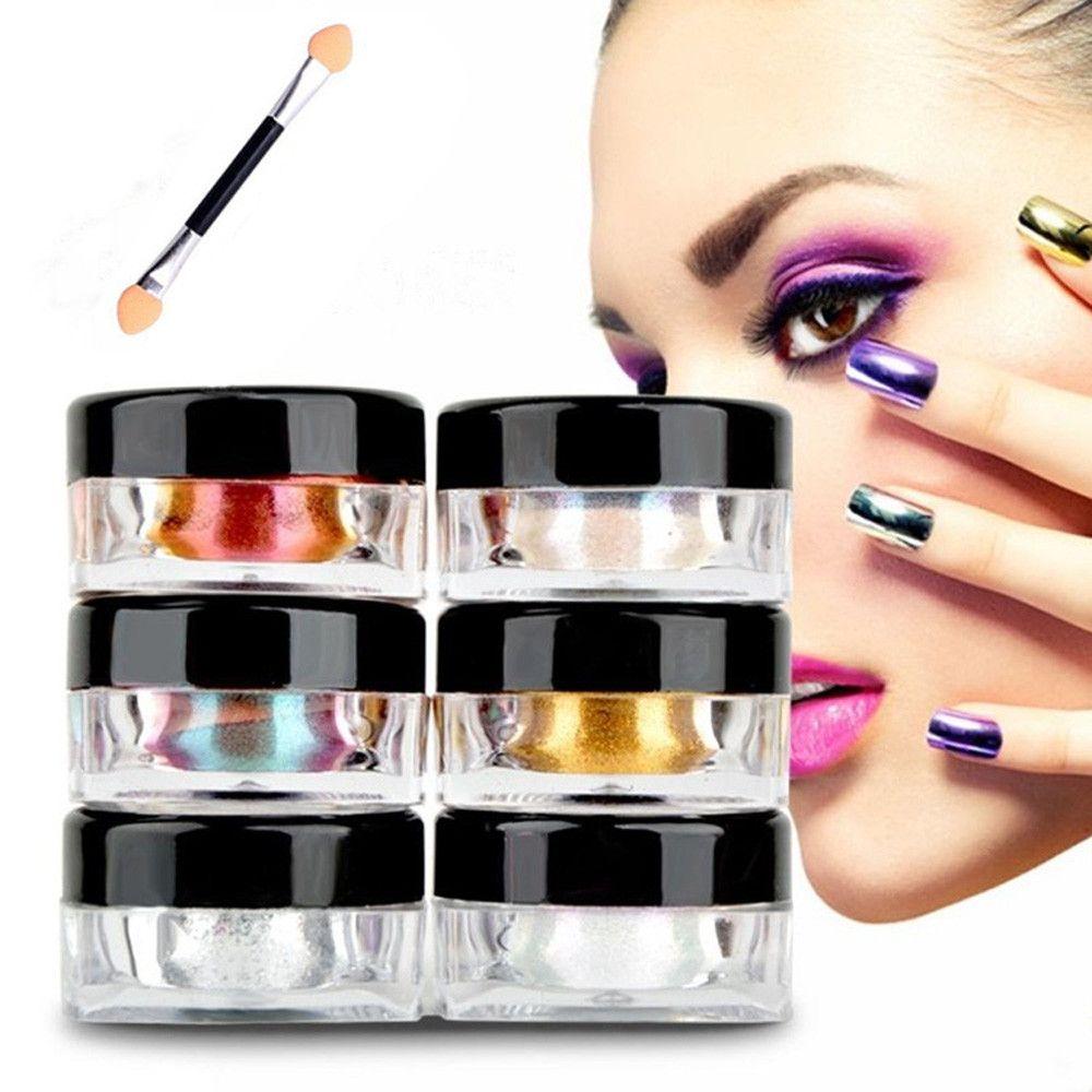 12 colores/set Magia Efecto Espejo Chrome Nail Powder Uñas Pigmento ...