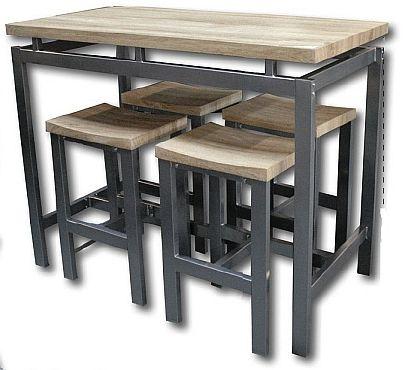 table haute 4 tabourets metal