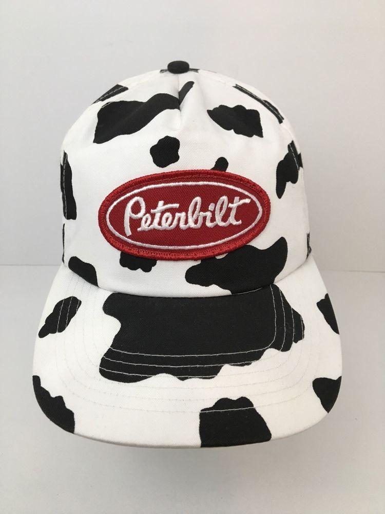 f801d3e013a Vintage Peterbilt Hat Farming Dairy Cow Spots Snapback Cap Black White Rare   SanSun  BaseballCap