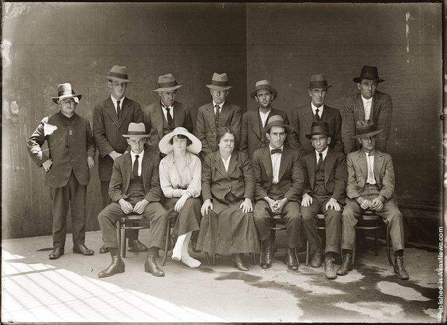 """Group of criminals, Central 1921"". The subjects are not named, but the woman on the left is believed to be Eileen Leigh or Barry (daughter of Kate Leigh). This picture is one of a series of around 2500 ""Special Photographs"" taken by New South Wales Police Department photographers between 1910 and 1930. (Photo by NSW Police Forensic Photography Archive, Justice & Police Museum, Histiric Houses Trust of NSW)"