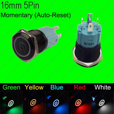 1PC 16MM Waterproof Momentary Auto Reset Metal Button Switch