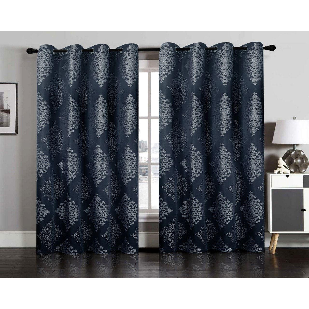 Ellington Nadia Jacquard Window Curtain Grommet Panel Pair - 54 x 84 ...