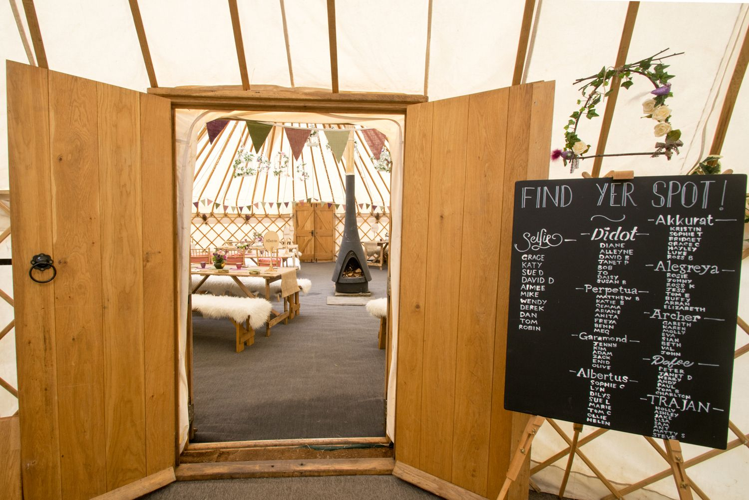 Yorkshire Yurt 1, bar area and table plan - Photo by Ruth Mitchell Photography