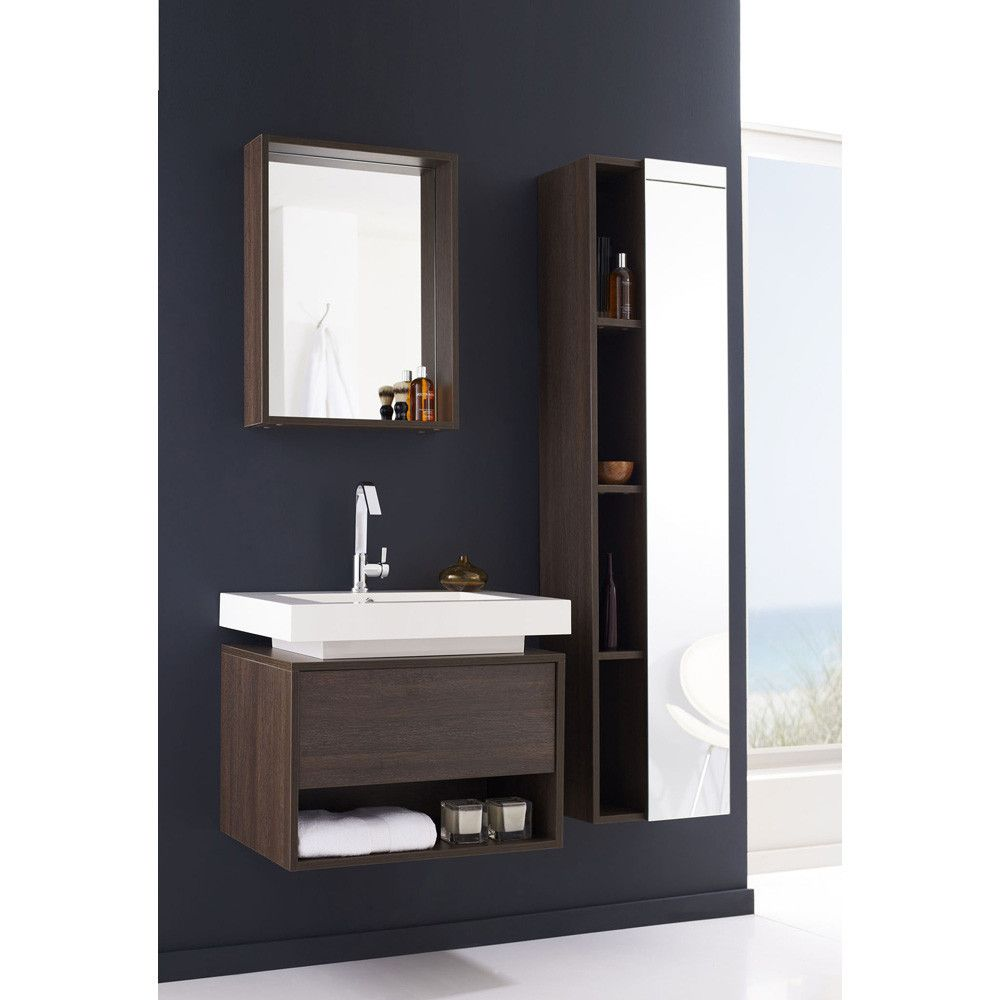 Sink Cabinet With a unique white polymarble basin and dark oak