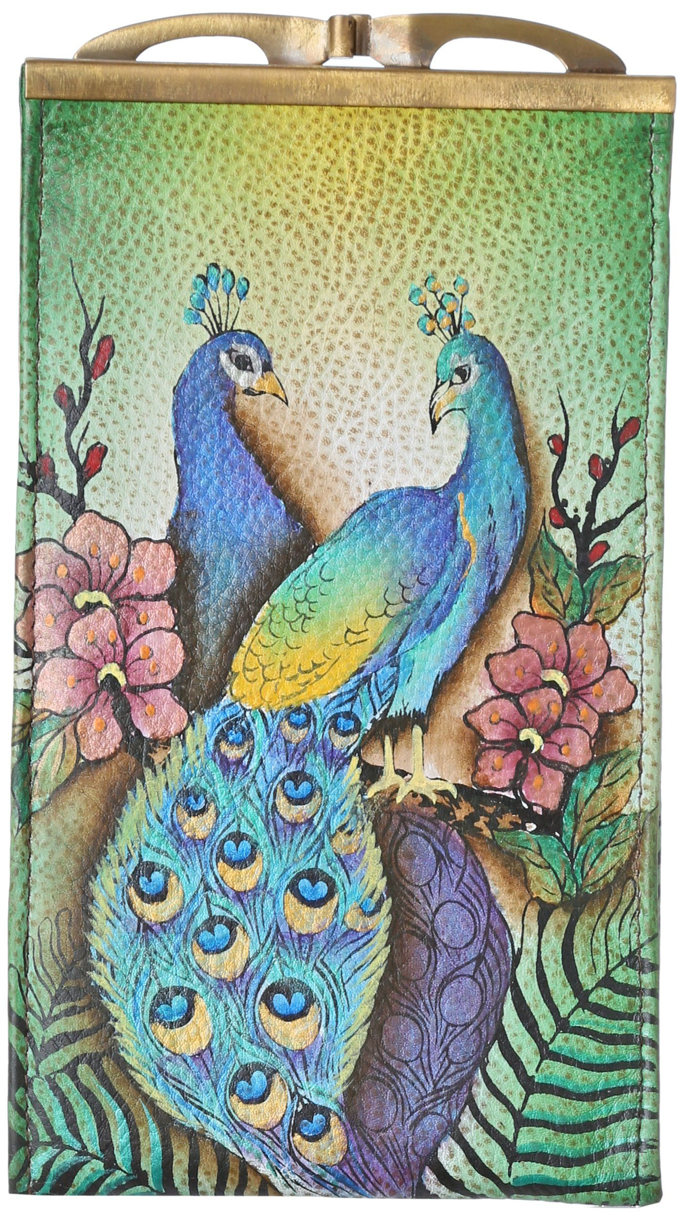 Anuschka Antique Double Eyeglass Case,Passionate Peacock,One Size