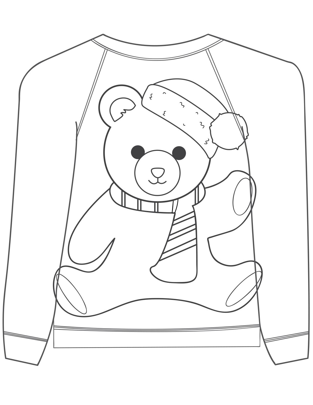 Christmas Coloring Pages Bear Coloring Pages Diy Christmas Sweater