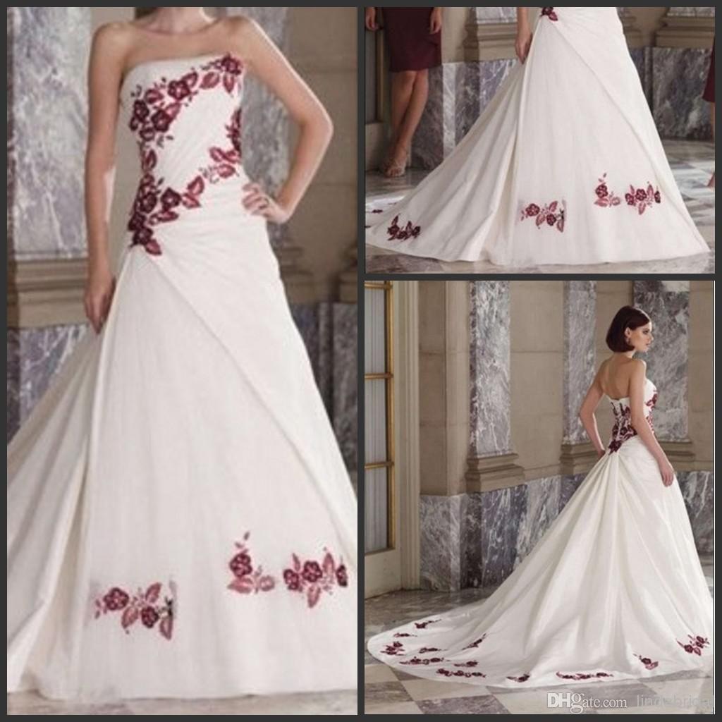 Wholesale A Line Wedding Dresses Buy Plus Size Wedding Dress A Line Burgundy Embroidery White Satin Color Accent Wedding Dresses Dresses A Line Wedding Dress [ 1024 x 1024 Pixel ]