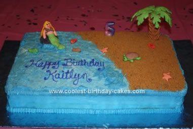 Cute Homemade Beach Themed Sheet Cake Beach Birthday Cake