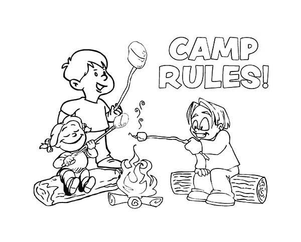 Summer Camp, : Camp Rules on Summer Camp Coloring Page