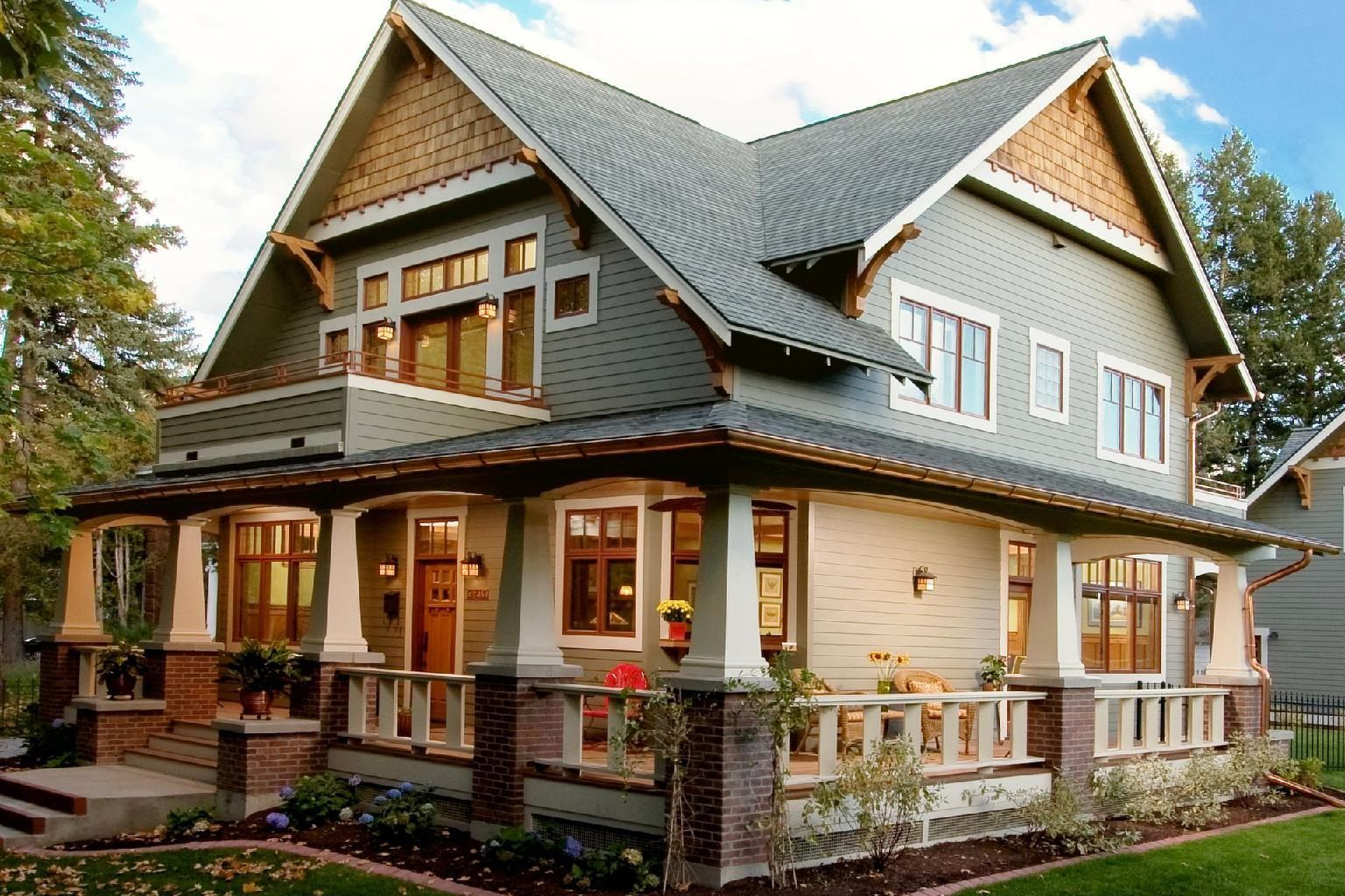 Craftsman Homes Exterior Color Schemes Paint Colors For Brick Single Wood Front Door Brown