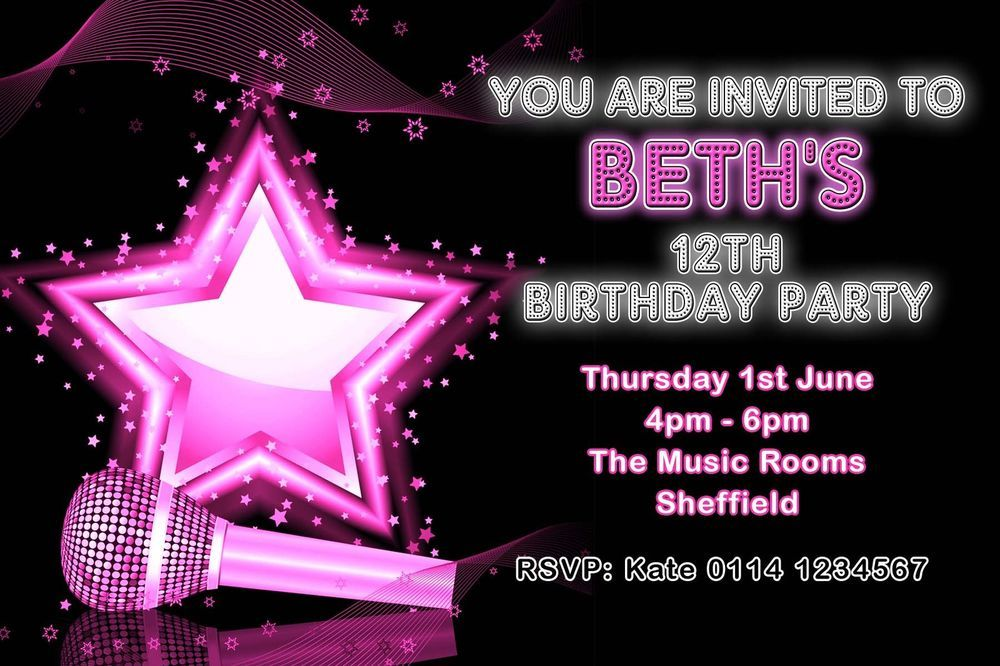 10 personalised birthday party invitations popstar karaoke music 10 personalised birthday party invitations popstar karaoke music disco y30 stopboris Image collections