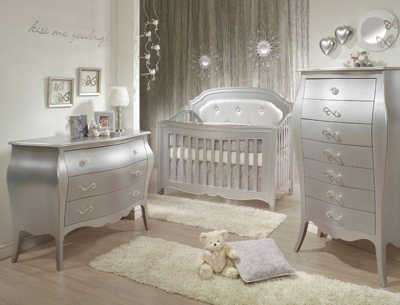 Natart Alexa 3 Piece Nursery Set In Silver   Crib, 3 Drawer Dresser, And  Lingerie Chest   Nursery Sets   Baby Furniture