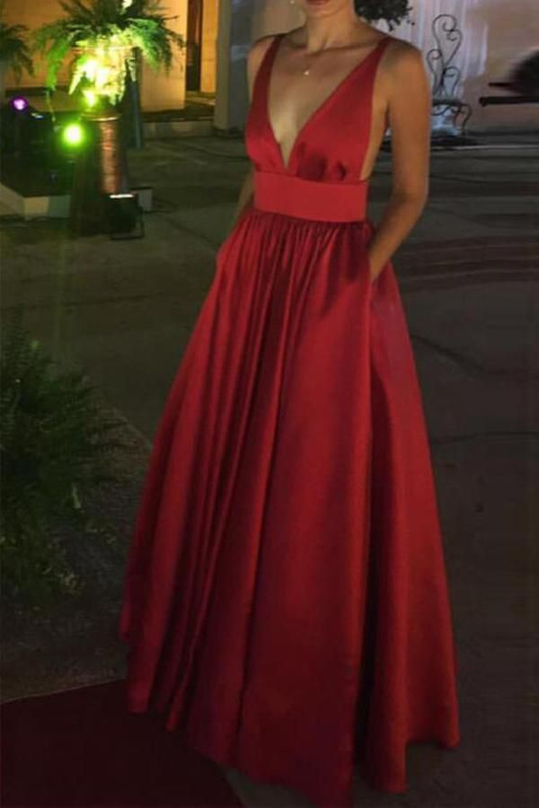 Hot Sale Colorful V Neck Prom Dress, Red Party Dresses, Sexy Prom Dress, Open Back Party Dresses