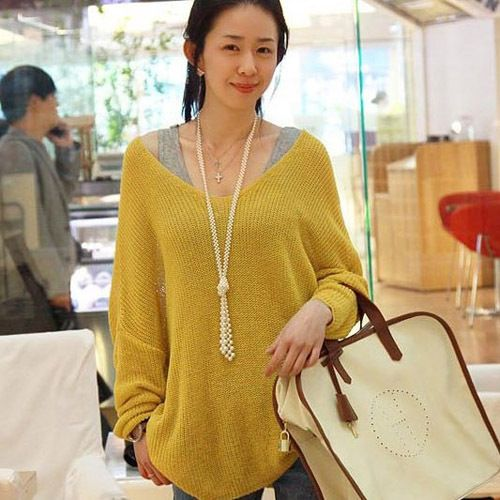Women V Neck Oversized Batwing Knitted Top Jumper Sweater Knitwear Pullover Coat   eBay