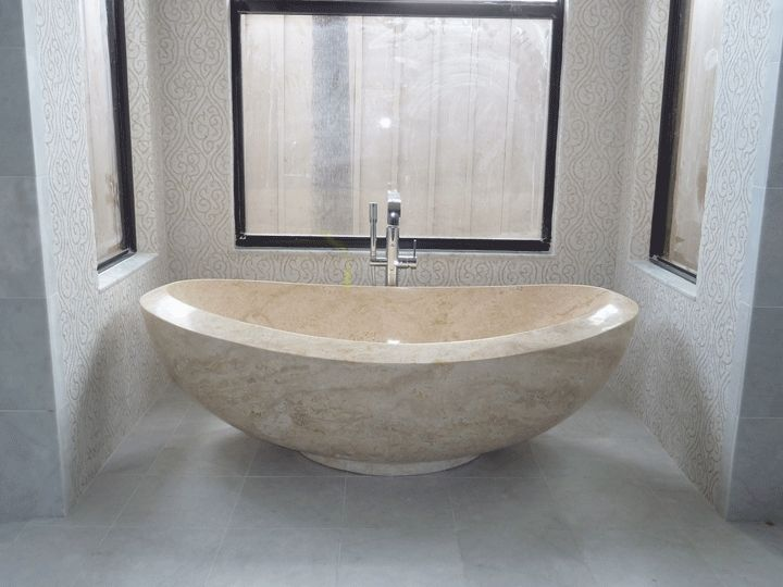 Galala Beige Cream Marble Polished Tub | Double Slipper Tub | Freestanding  Bathtub Design Idea