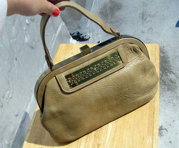 Vintage 1950s bag / 50s Roger Van S handbag / Designer Leather Bag