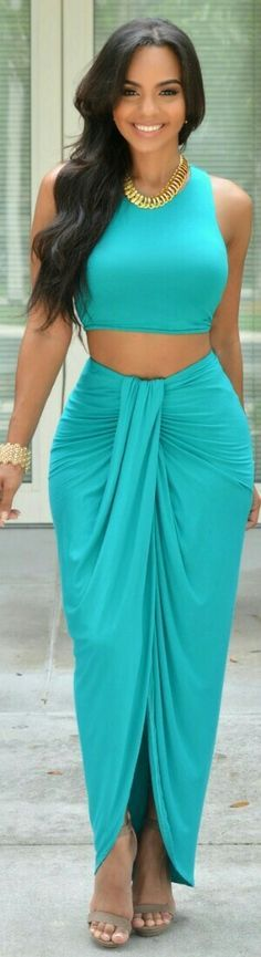 VALERIE TEAL DRAPED TWO PIECE SET / Chic Couture
