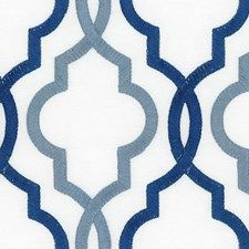 Dark Blue/Light Blue/Ivory Lattice Drapery and Upholstery Fabric by Kravet
