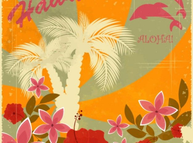 Hawaiian Retro Holiday Background Vector Set (eps Download ...