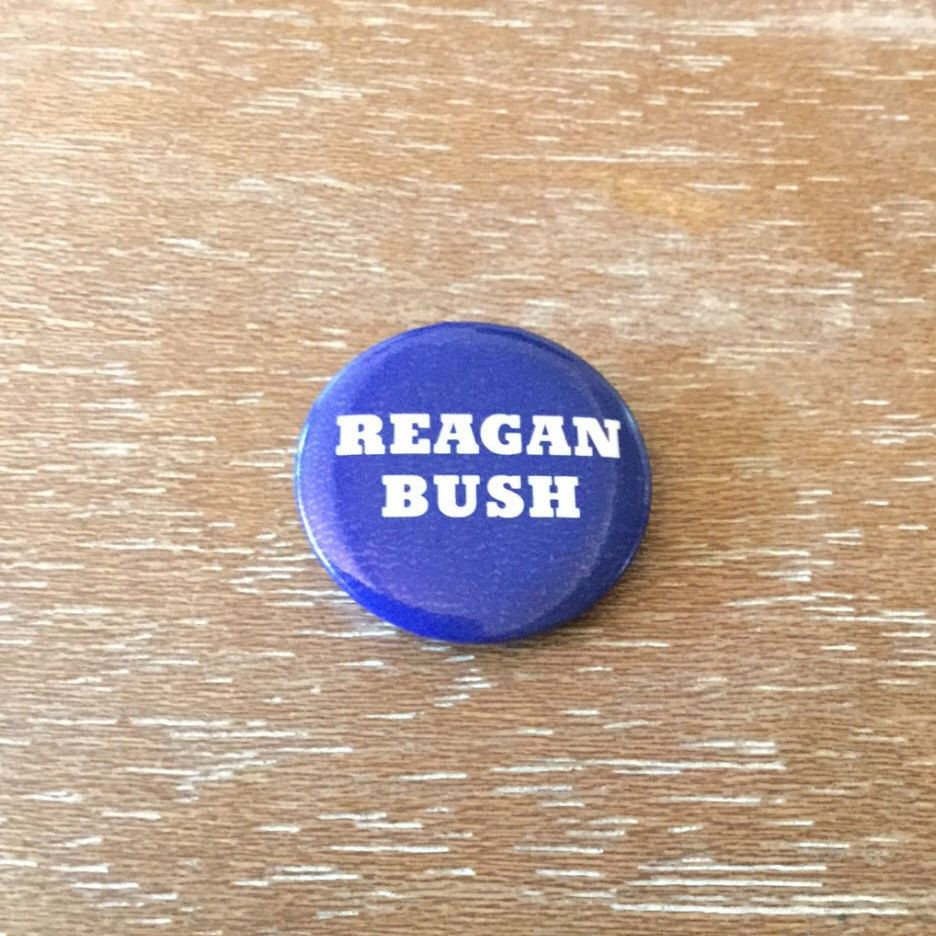 Vintage Reagan Bush Political Campaign Button Republican Presidential Candidate Pin by PiperRoseVintage on Etsy https://www.etsy.com/listing/475190213/vintage-reagan-bush-political-campaign