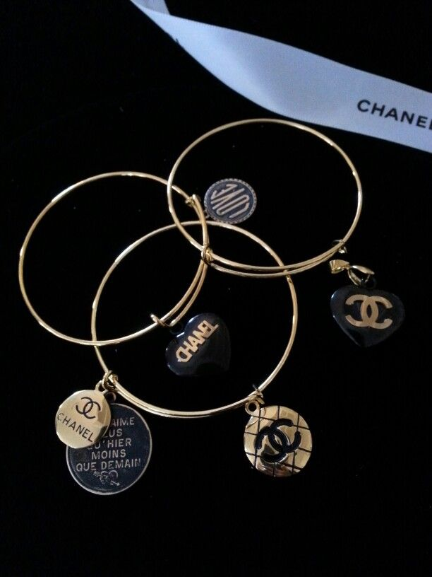 Chanel Inspired Black Chain Bracelet With Logo Charms 10 00 13