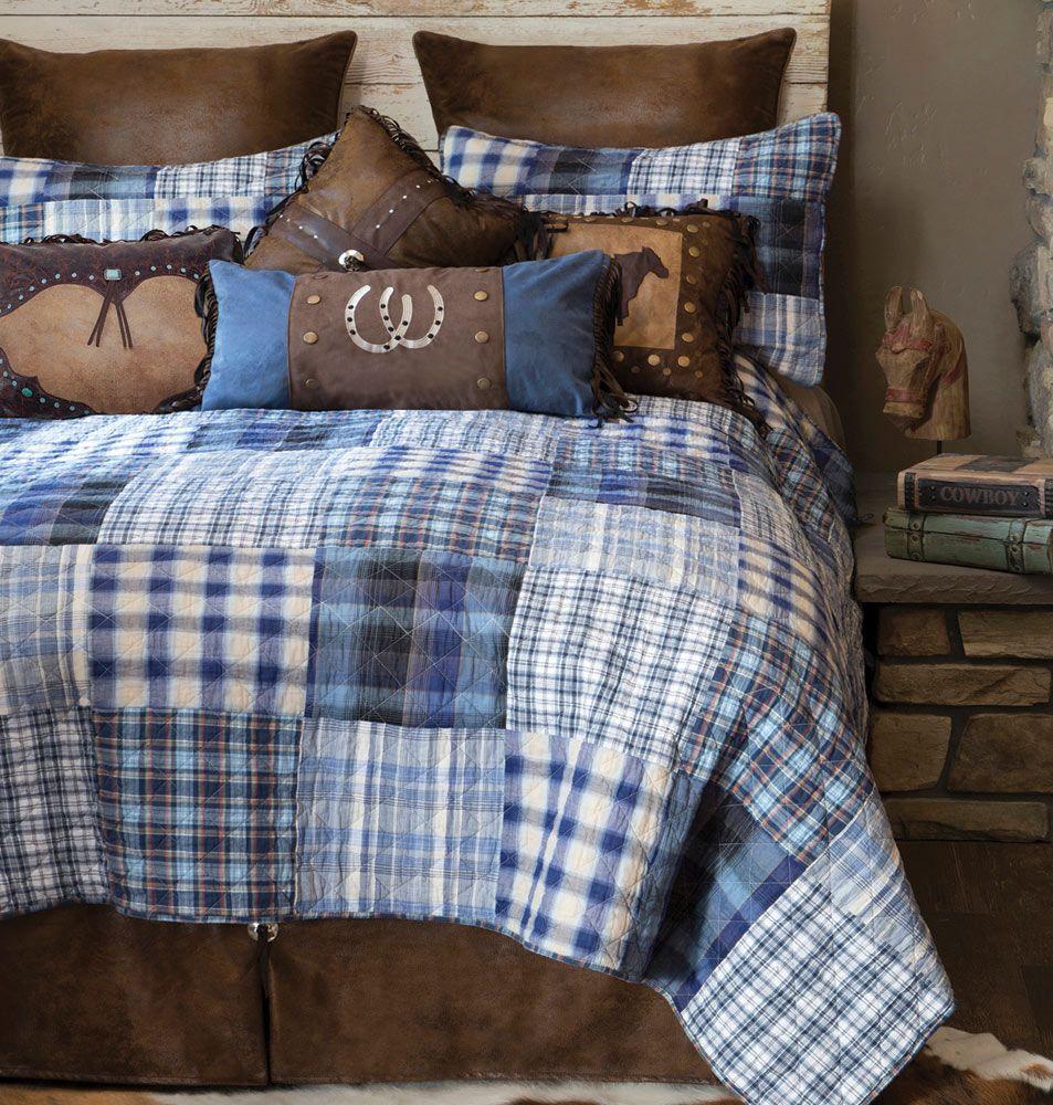Cowboy Denim Plaid Bed Set King Bedding Sets Quilt Sets