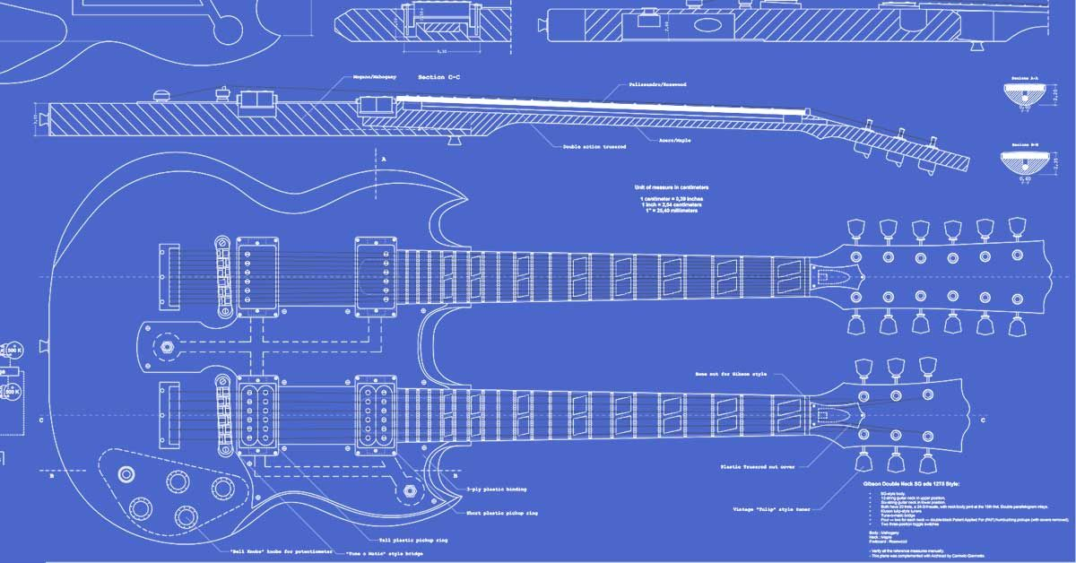 Gibson Double Neck Esd 1275 Guitar Templates Guitar Building