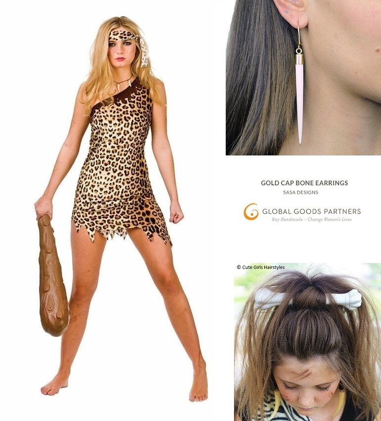 dress up party dress Pebbles inspired Cave girl costume dress with bone hair clip