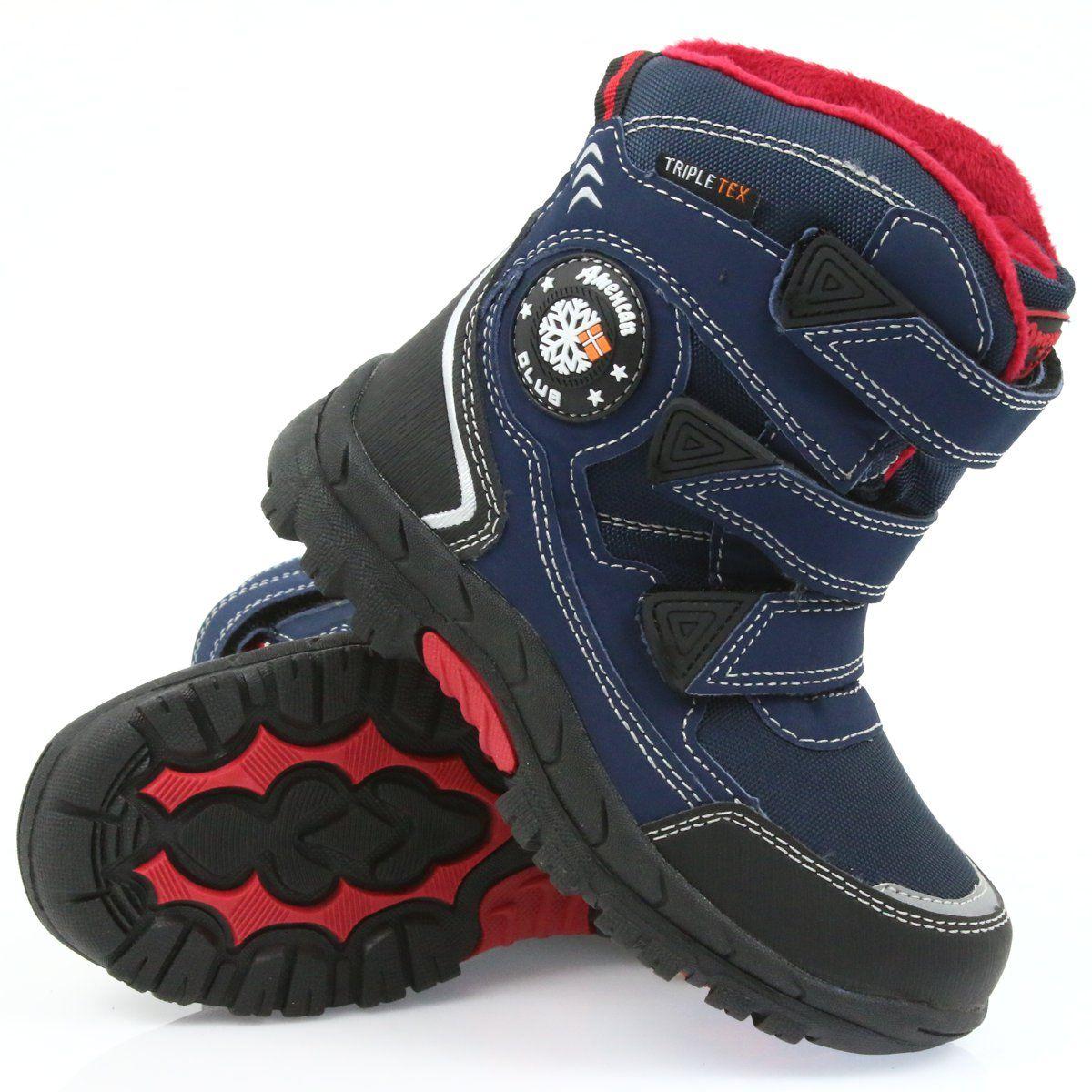 American Club American Kozaki Buty Zimowe Z Membrana 0926 Czarne Czerwone Granatowe Boots Winter Boots Childrens Boots