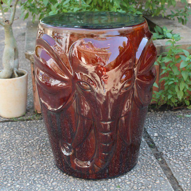 Outdoor International Caravan Catalina Wild Elephant Ceramic Garden Stool Brown - OPG-064-BN