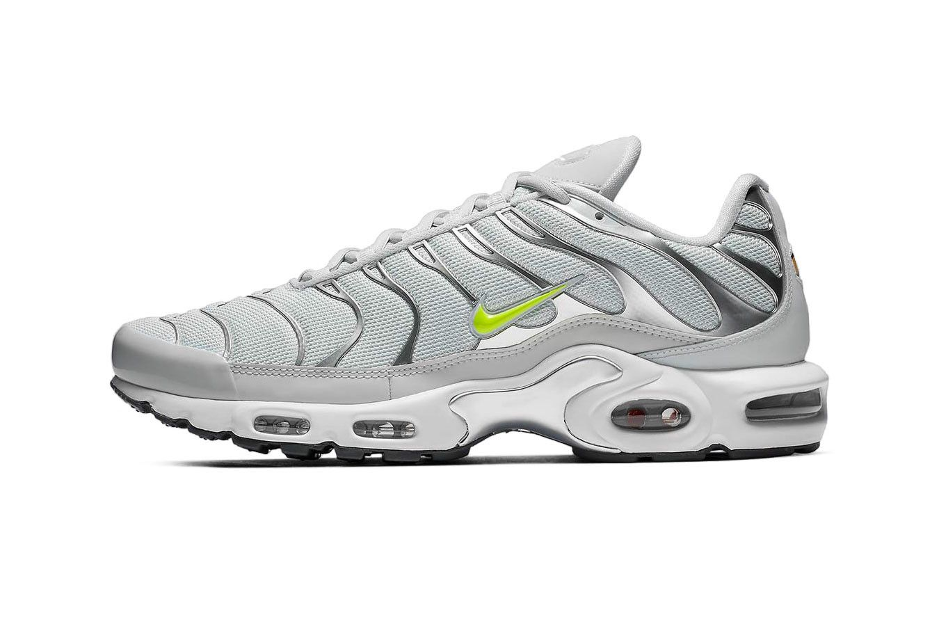 The Nike Air Max Plus Arrives In A Grey Volt Colorway Nike Air Max Plus Nike Air Max Air Max Plus