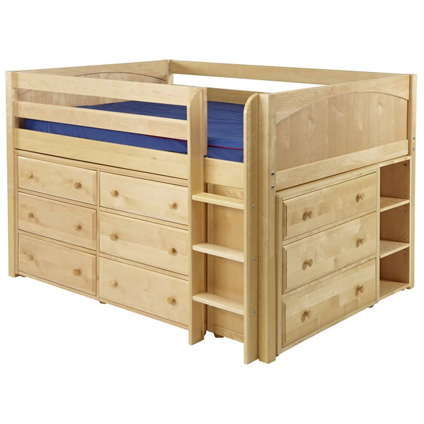 Remarkable Full Size Low Loft Bed Large 3 Storage In Natural Maxtrix 601 28625 Home Interior Design Reference