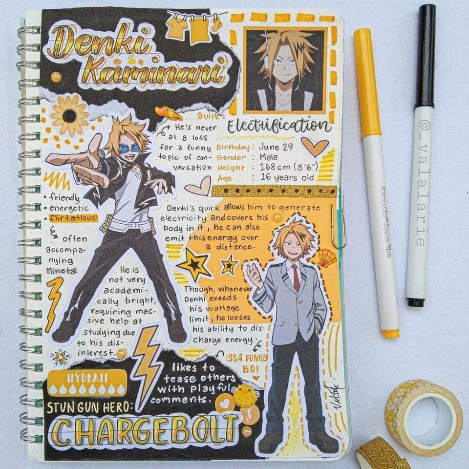 Denki Kaminari In 2020 Anime Book Bullet Journal Themes Journal Themes